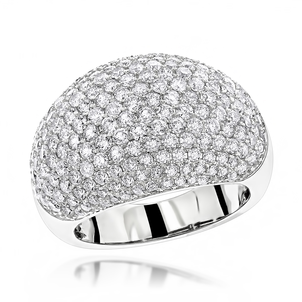 14K Gold Ladies Designer Pave Diamond Ring 3.5ct White Image