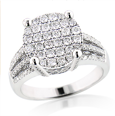 14K Gold Ladies Diamond Engagement Ring 1.36ct