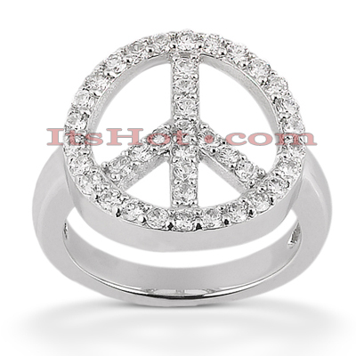 Thin 14K Gold Ladies Diamond Ring 0.78ct