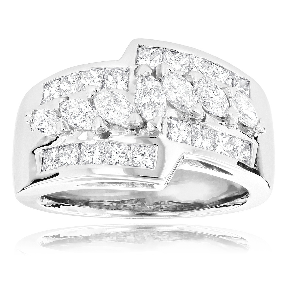 14K Gold Ladies Diamond Ring 1.90ct White Image