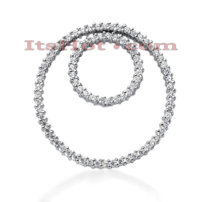 14K Gold Ladies Double Circle Diamond Pendant 1.24ct