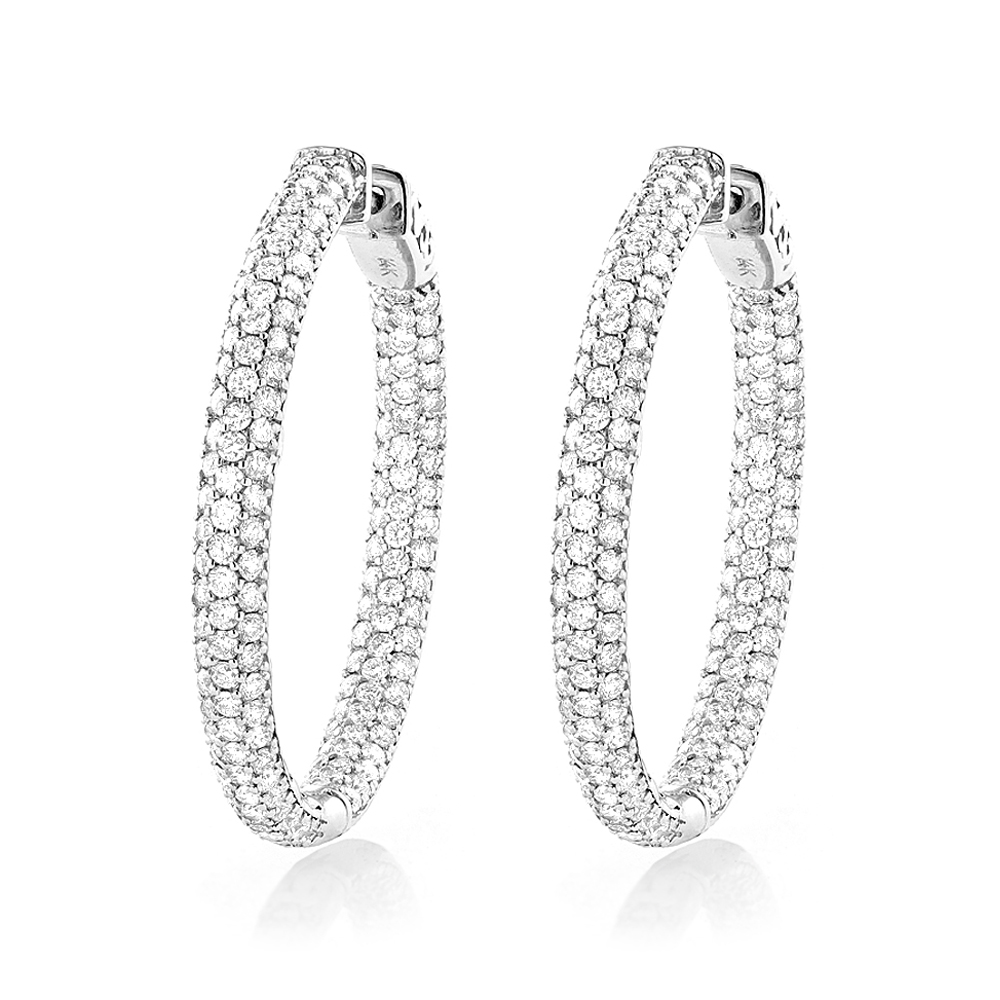 Large 5 Carat 1.5in Ladies Inside Out Diamond Hoop Earrings in 14k Gold White Image