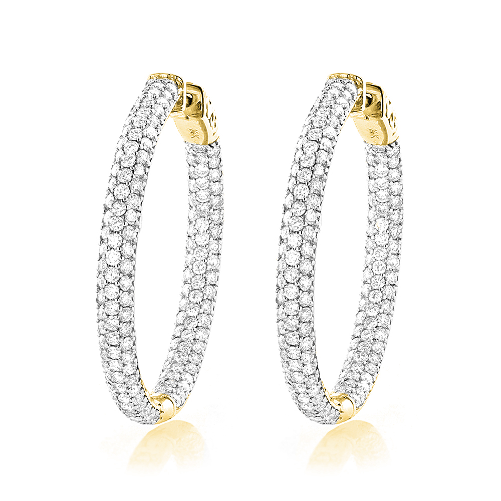 Large 5 Carat 1.5in Ladies Inside Out Diamond Hoop Earrings in 14k Gold Yellow Image