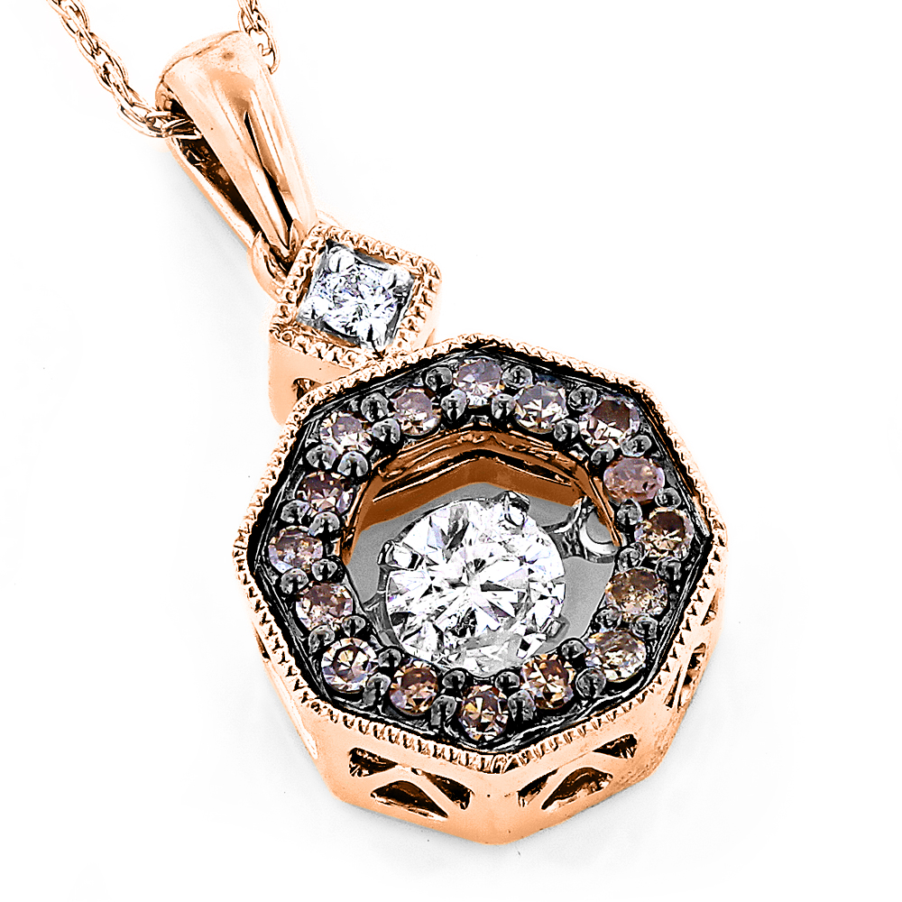 14K Gold Ladies Octagon Dancing White & Champagne Diamonds Pendant 0.35ct