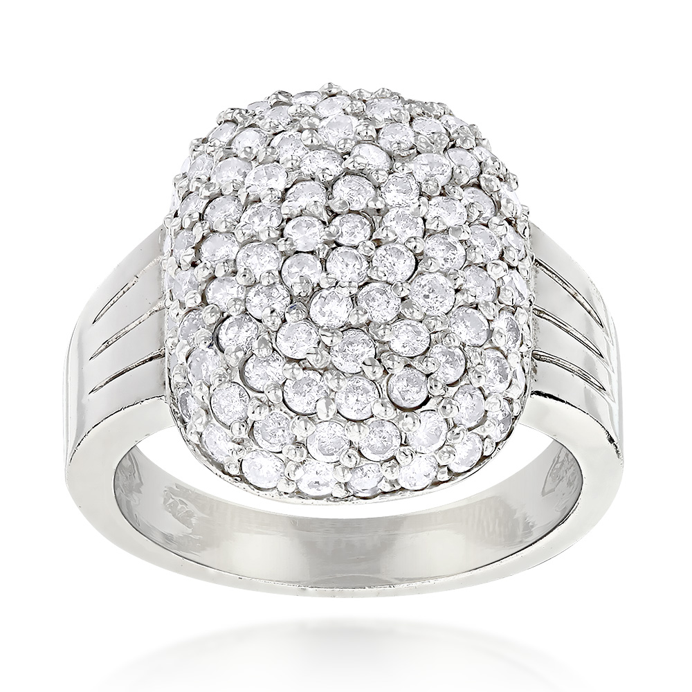 14K Gold Ladies Pave Diamond Ring 1.20ct