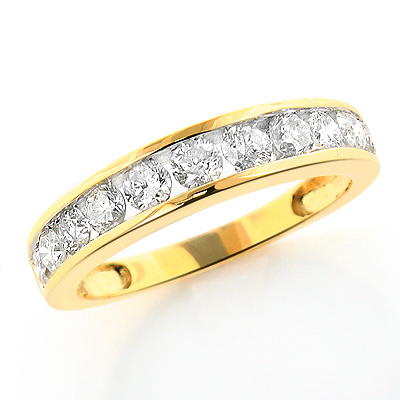 Thin 14K Gold Ladies Round Diamond Wedding Band 1.18ct Main Image