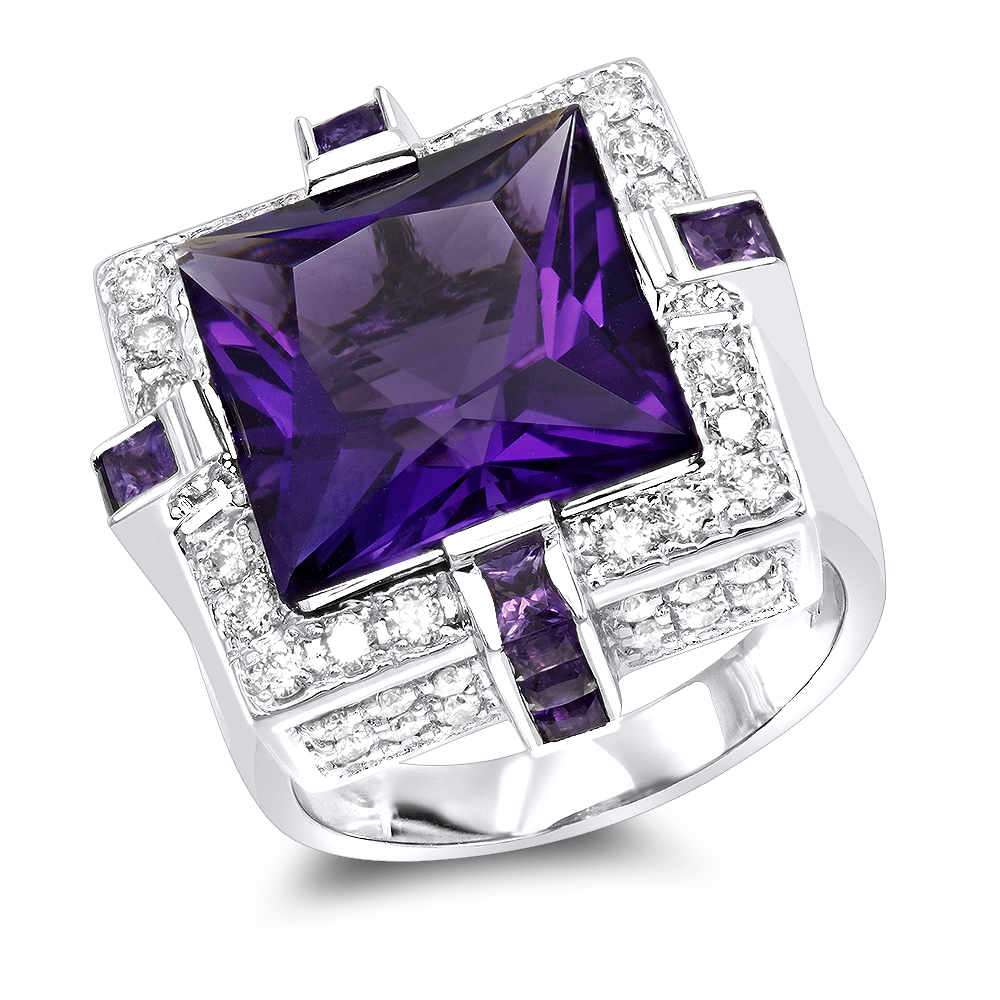 14K Gold Large Diamond Amethyst Cocktail Ring for Women by Luxurman 14ct White Image