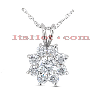 14K Gold Large Diamond Flower Pendant 2.60ct Main Image