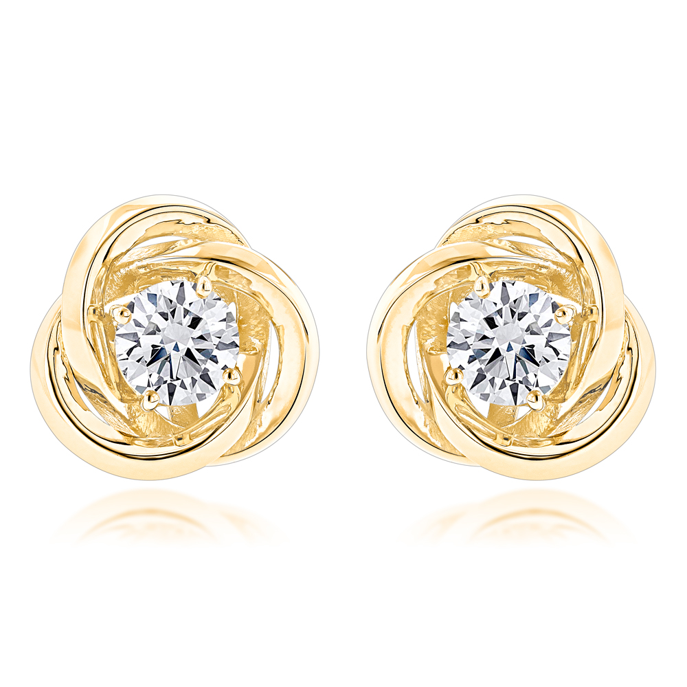 14K Gold Love Knot Diamond Earrings Solitaire Studs 1.4ct Yellow Image