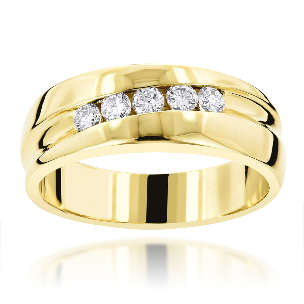 14K Gold Male Engagement Rings Collection Piece 0.44ct 5 Stone Comfort Fit Yellow Image