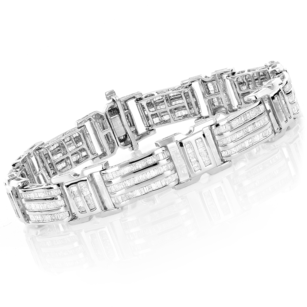 9e2946ef64a46 14K or 10K Gold Mens Baguette Diamond Bracelet 7.95ct