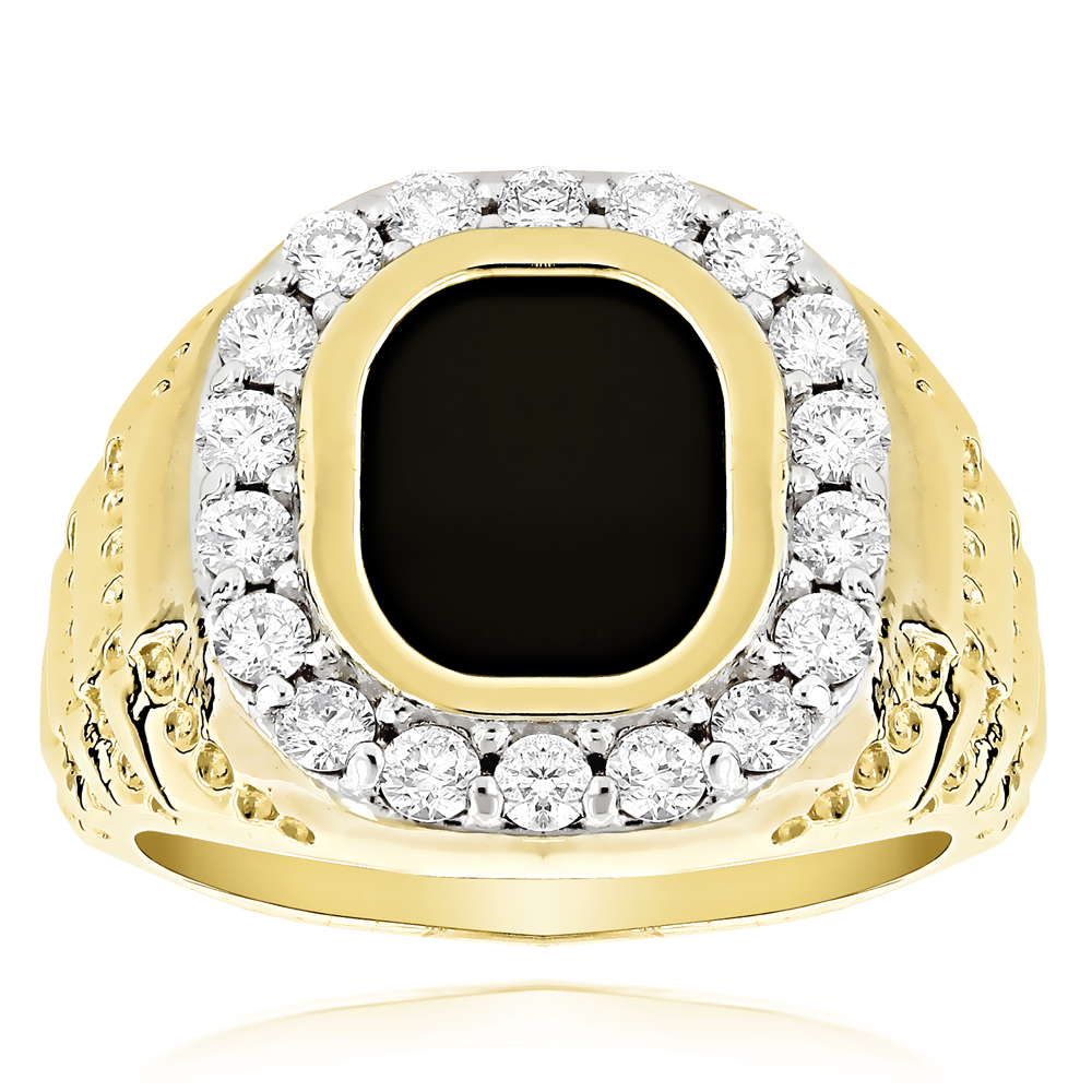 14K Gold Nugget Mens Black Onyx Diamond Ring 1.5ct Yellow Image
