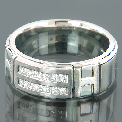 14K Gold Mens Comfort Fit Diamond Wedding Band 1.33ct Main Image