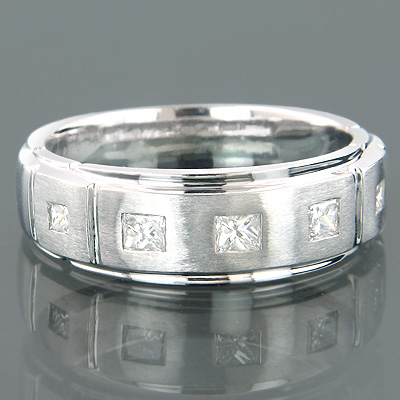 14K Gold Mens 5 Stone Diamond Wedding Ring 0.5ct main