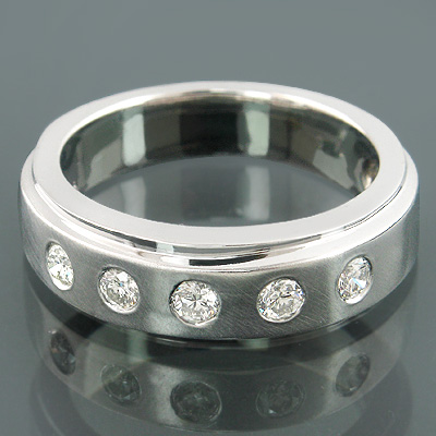 14K Gold Mens Contemporary Diamond Wedding Band 0.39ct 5 Stones