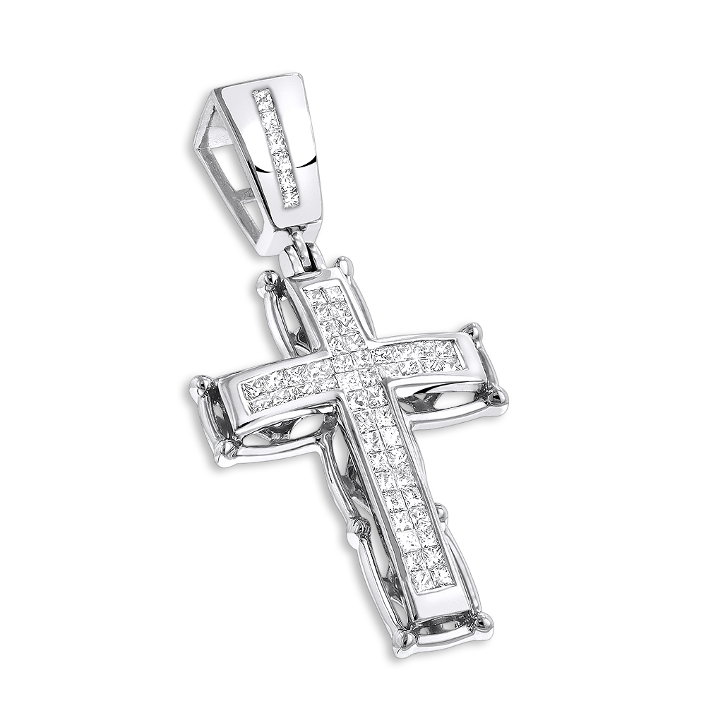 14K Gold Mens Cross Pendant w Princess Diamonds 1 ct White Image