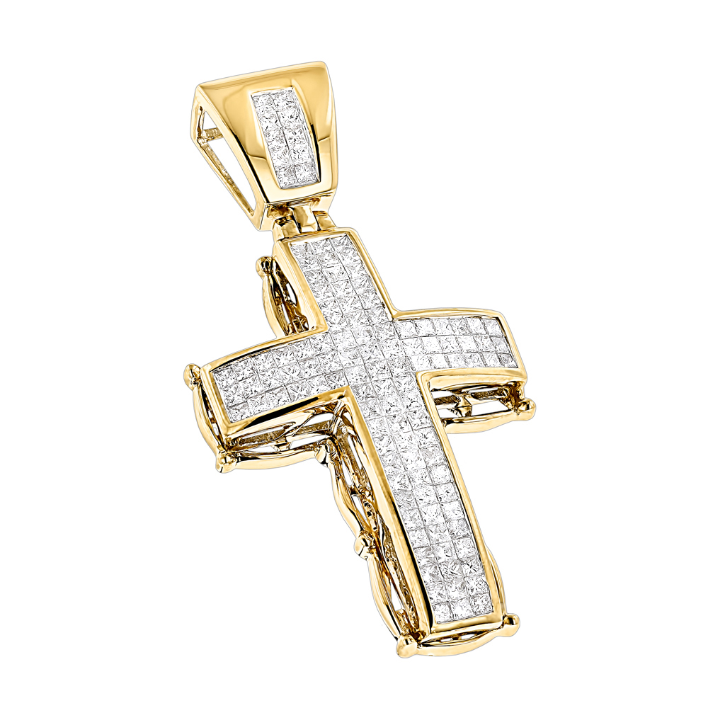 14K Gold Mens Cross Pendant w Princess Diamonds 2.25ct Yellow Image