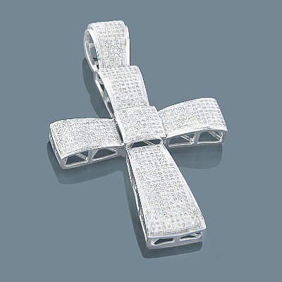 14K Gold Mens Diamond Cross Pendant 3.00ct Main Image