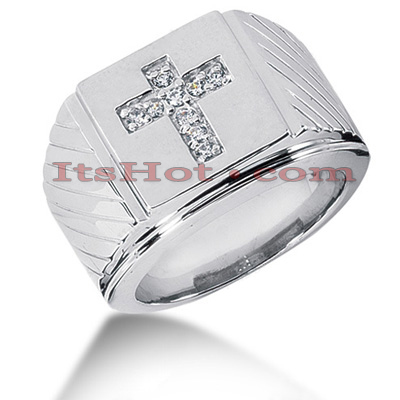 14K Gold Mens Diamond Cross Ring 0.23ct Main Image