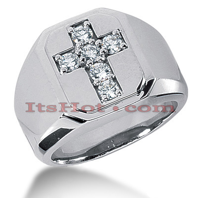 14K Gold Mens Diamond Cross Ring 0.30ct Main Image