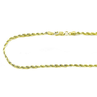 Solid 14K Gold Diamond Cut Rope Chain 2.5mm, 18in - 40in Main Image
