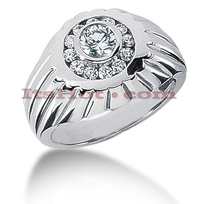 14K Gold Men's Diamond Ring 0.86ct