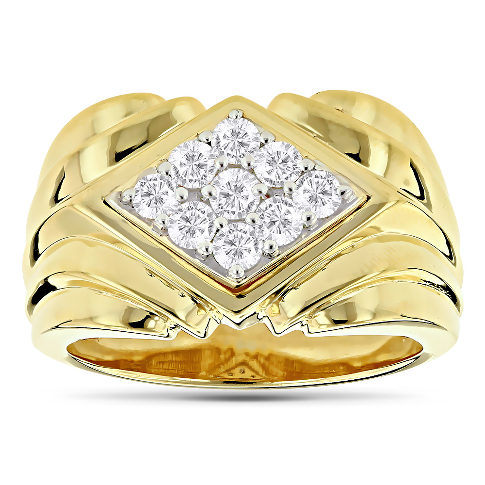14K Gold Men's Diamond Ring 1.08ct