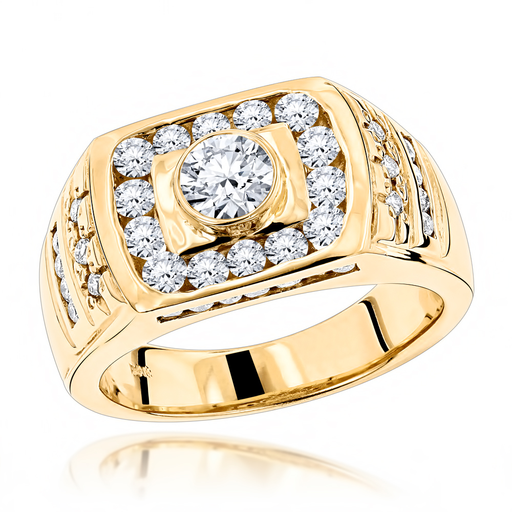 14K Gold Men's Diamond Ring 1.86ct by Luxurman Yellow Image