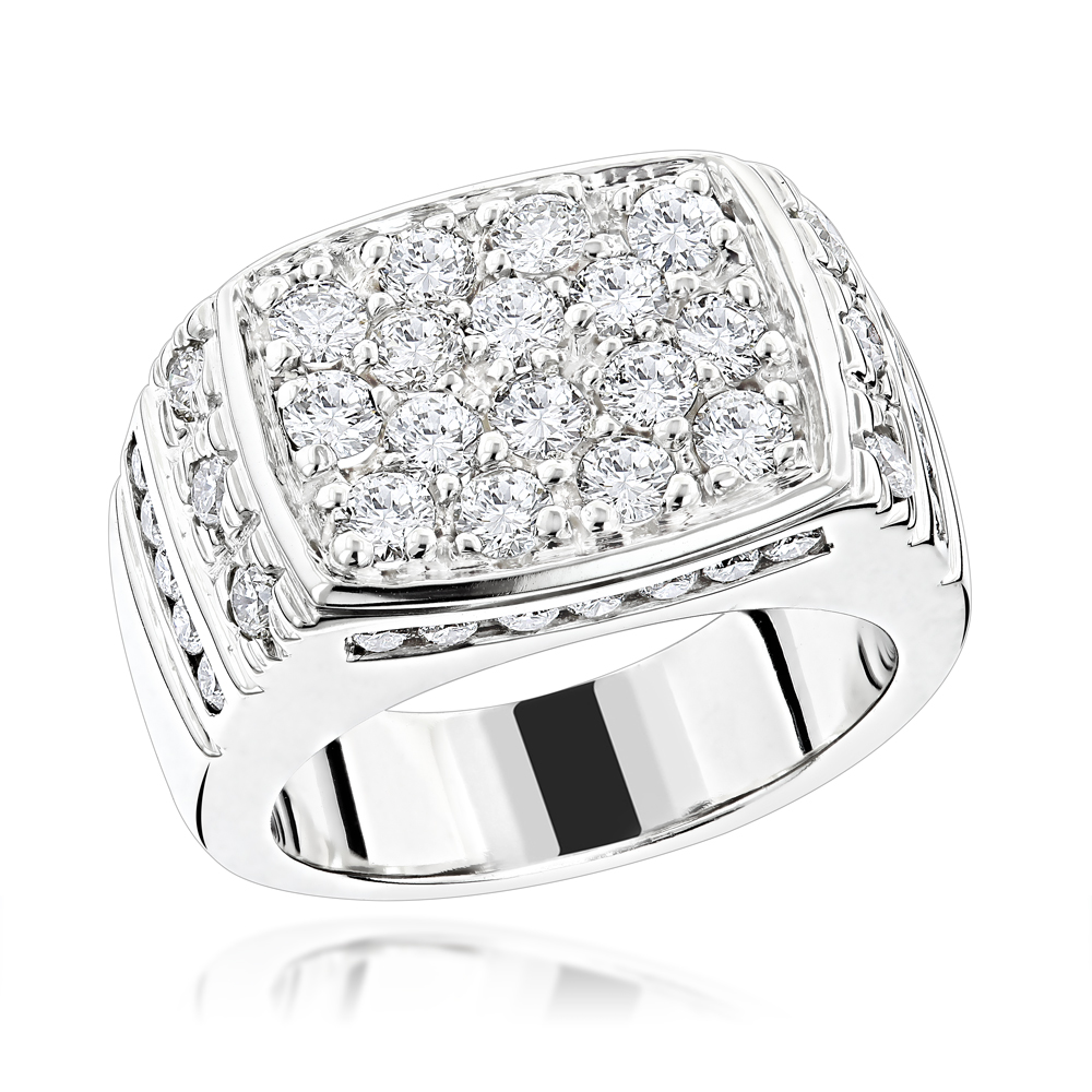14K Gold Men's Diamond Ring 2.68ct White Image