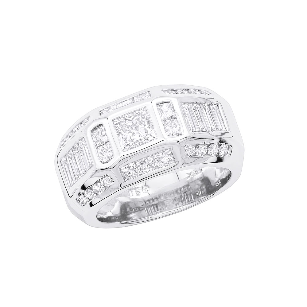 14K Gold Mens Diamond Ring 3.53ct White Image