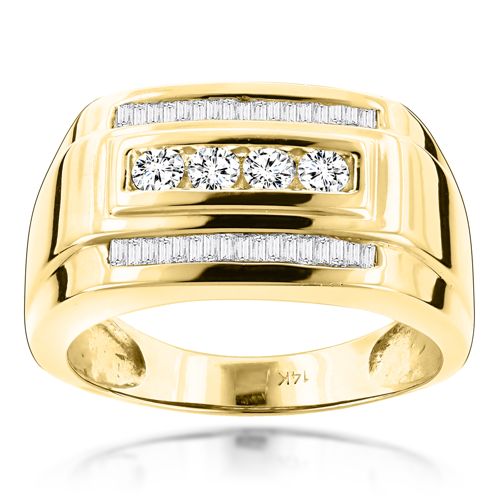 14K Gold Mens Diamond Ring Baguette and Round 0.8ct Yellow Image