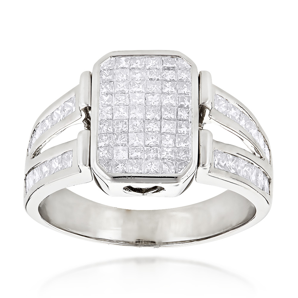 14K Gold Mens Diamond Ring Princess Cut Diamonds 2.53 White Image