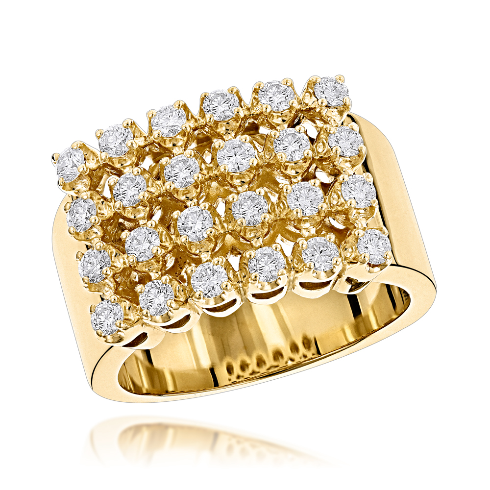 14K Gold Mens Diamond Rings Collection Piece 1.32ct Yellow Image