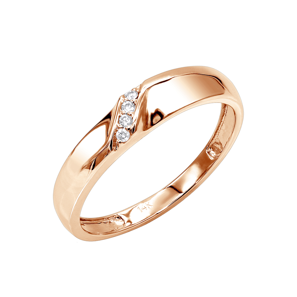 14K Gold Mens Diamond Wedding Band 0.06ct Rose Image