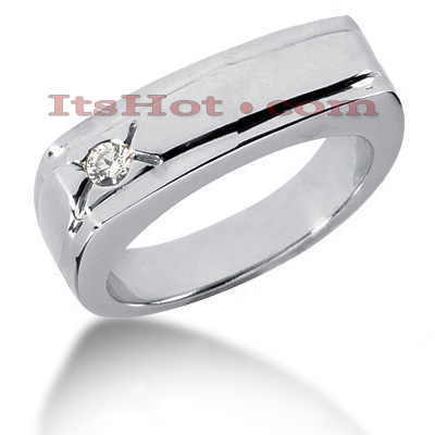 14K Gold Mens Diamond Wedding Band 0.10ct Main Image