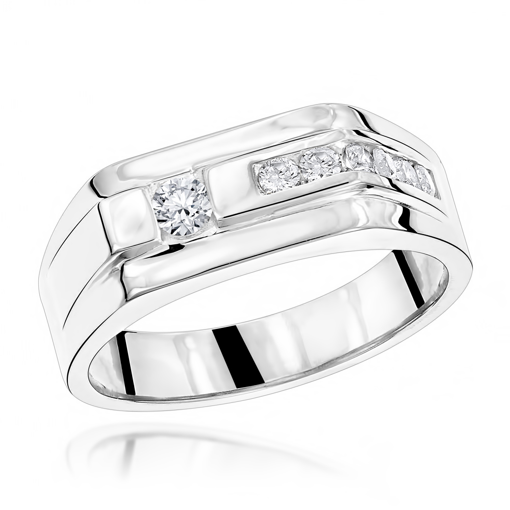 14K Gold Men's Diamond Wedding Band 0.45ct White Image