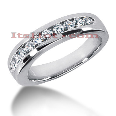 14K Gold Mens Diamond Wedding Band 0.80ct