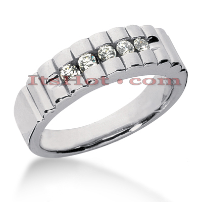 14K Gold Men's Diamond Wedding Ring 0.35ct Main Image