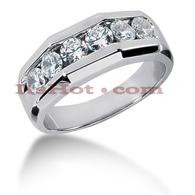 14K Gold Men's Diamond Wedding Ring 0.60ct Main Image