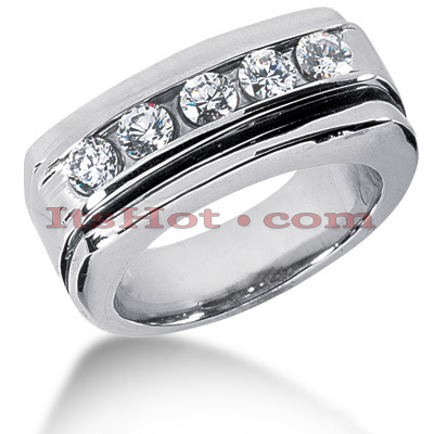 14K Gold Men's Diamond Wedding Ring 0.75ct Main Image