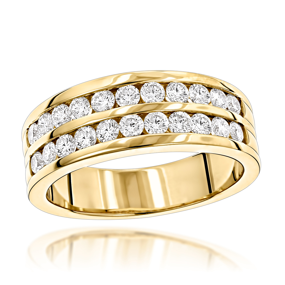 14K Gold Mens Diamond Wedding Ring w 1.5ct of Round Diamonds by Luxurman Yellow Image