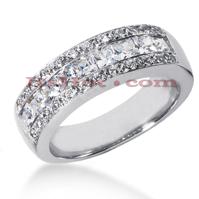 14K Gold Men's Diamond Wedding Ring 1.65ct