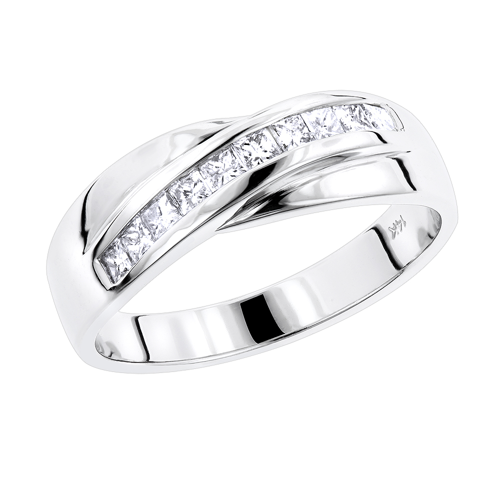 14K Gold Men's Diamond Wedding Ring 1ct White Image