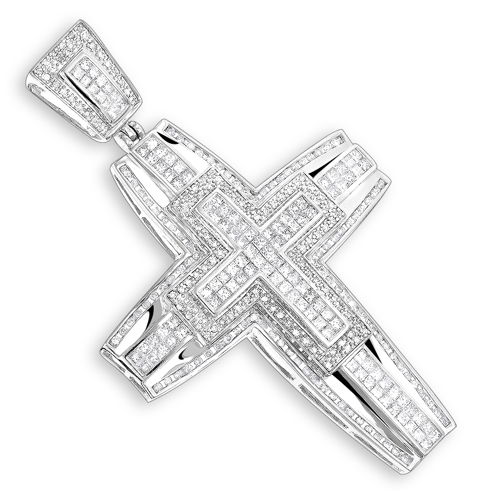 14K Gold Mens Large Diamond Cross Pendant 5.99ct White Image