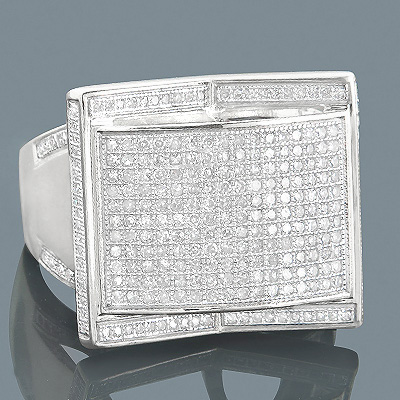 14K Gold Mens Pave Diamond Ring 1.14ct Main Image