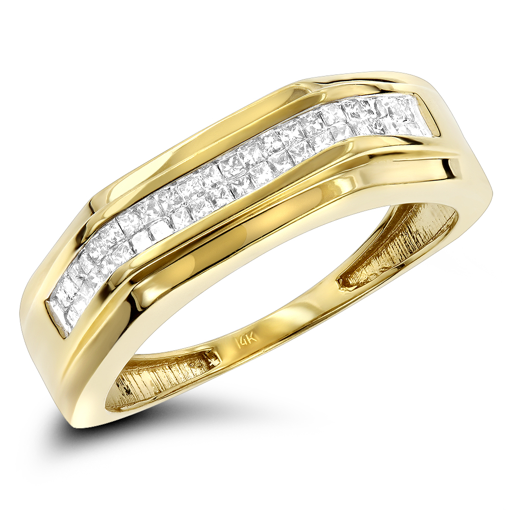 14K Gold Mens Princess Cut Diamond Ring 0.65ct Unique Wedding Band Yellow Image