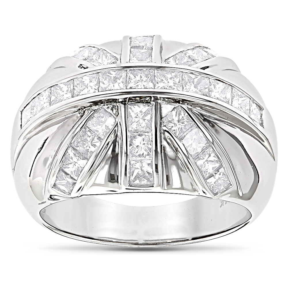 14K Gold Mens Princess Cut Diamond Ring 2.22ct White Image