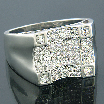 14K Gold Mens Princess Cut Round Diamond Ring 1.68ct Main Image