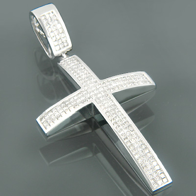 14K Gold Mens Princess Diamond Cross Pendant 8.22ct