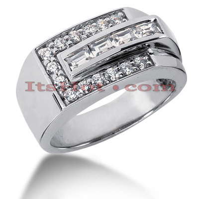 14K Gold Men's Round & Baguette Diamonds Ring 0.90ct Main Image